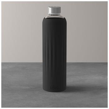 ToGo&ToStay szklana butelka, 1 l, z silikonową osłonką, czarna
