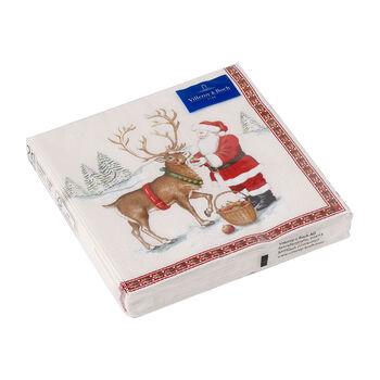 Winter Specials serwetka lunchowa renifer, brązowa/kolorowa, 20 sztuk, 33 x 33 cm