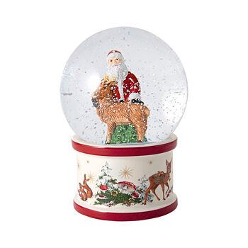 Christmas Toys duża kula śnieżna św. Mikołaj i jeleń, 13 x 13 x 17 cm