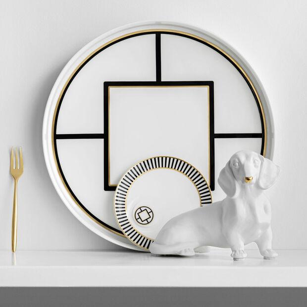 MetroChic miska do serwowania i dekoracji, średnica 33 cm, głębokość 4 cm, biało-czarno-złota, , large