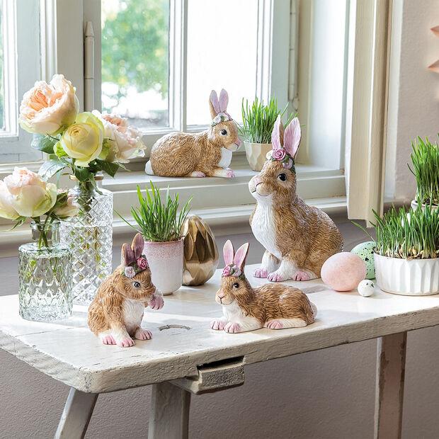 Easter Bunnies duży siedzący zając z wiankiem z kwiatów, brązowy/różowy, , large