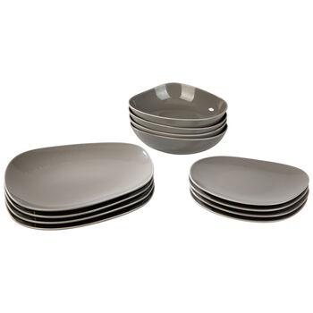 Organic Taupe zestaw talerzy Starter Set, brązowoszary, 12-częściowy