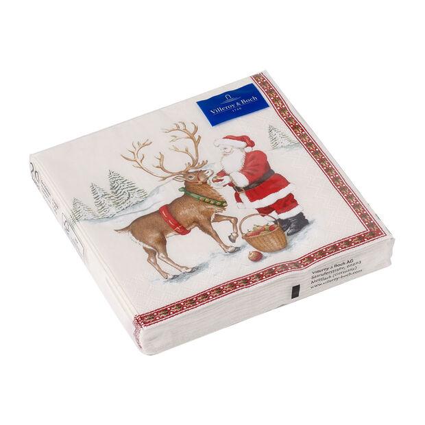 Winter Specials serwetka lunchowa renifer, brązowa/kolorowa, 20 sztuk, 33 x 33 cm, , large