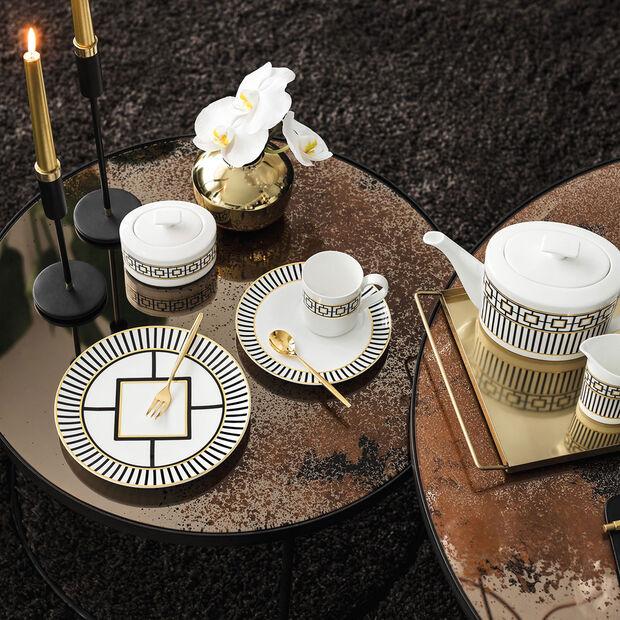 MetroChic talerz deserowy/śniadaniowy, biało-czarno-złoty, , large