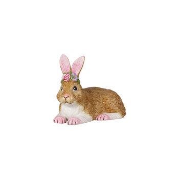 Easter Bunnies mały leżący zając, brązowy/różowy