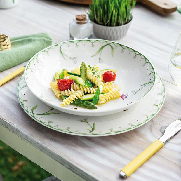 Colourful Spring płytka miska, 1,1 l, biały/zielony, , large