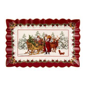 Toy's Fantasy prostokątny talerz na ciasto św. Mikołaj z saniami, kolorowy/czerwony/biały, 35 x 23 x 3,5 cm