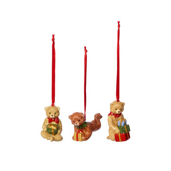 Nostalgic Ornaments zestaw ozdób miś, kolorowy, 3-częściowy, 9,5 cm