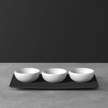 NewMoon zestaw miseczek do dipów, 4-częściowy, biały/łupek