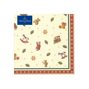 Winter Specials Toys serwetka koktajlowa drobne motywy, zielony/czerwony/złoty, 20 sztuk, 25 x 25 cm