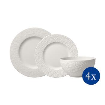Manufacture Rock blanc Zestaw talerzy, 12-cz., dla 4os.