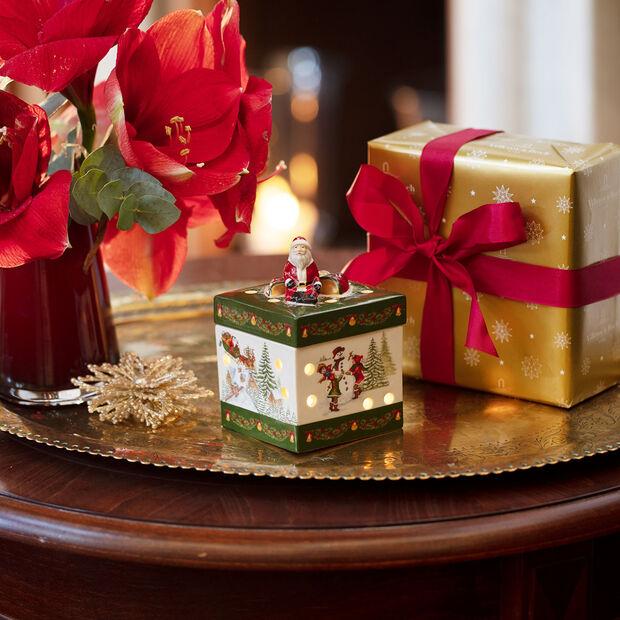 Christmas Toy's mały kwadratowy prezent, zielony/kolorowy, 9 x 9 x 13 cm, , large