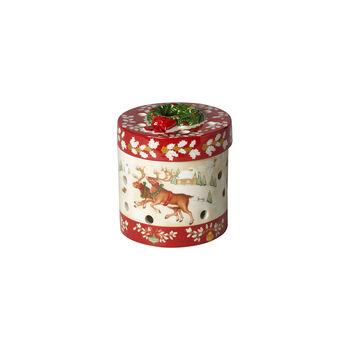 Christmas Toy's mały okrągły prezent, czerwony/kolorowy, 9,5 cm