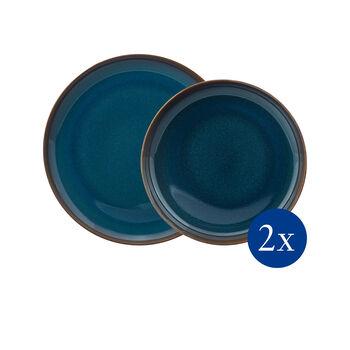 Crafted Denim zestaw naczyń stołowych, niebieski, 4-częściowy