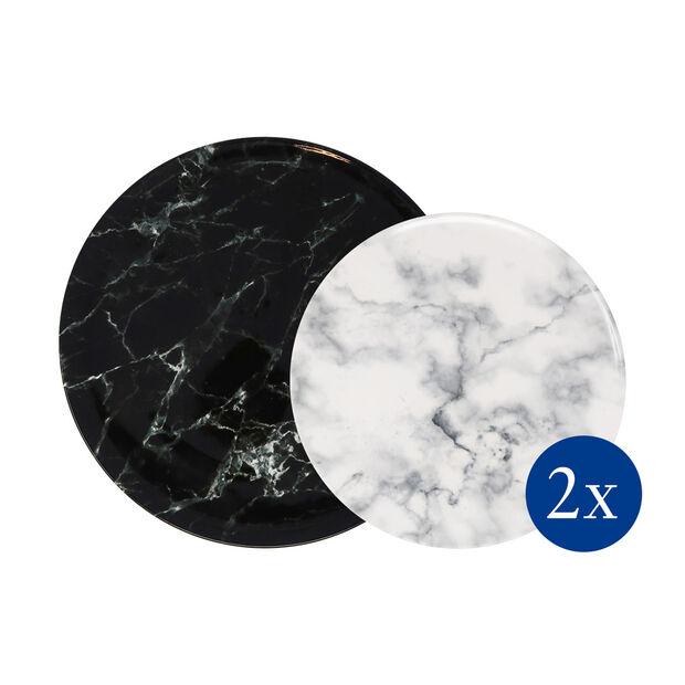 Marmory zestaw talerzy, 4-częściowy, dla 2 osób, czarny/biały, , large