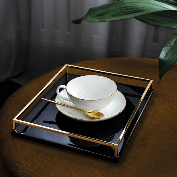Anmut Gold spodek do filiżanki do herbaty, średnica 15 cm, biały/złoty, , large