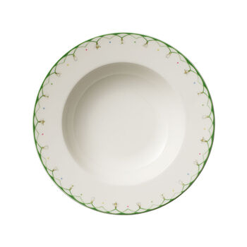 Colourful Spring głęboki talerz, 25 cm, 456 ml, biały/zielony