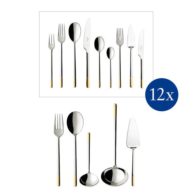 Ella teilvergoldet Cutlery set 113pcs lunch 49x34x18cm, , large