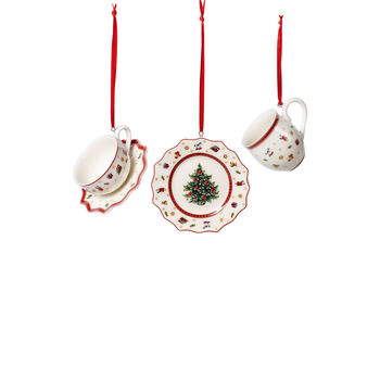 Toy's Delight Decoration zestaw ozdób w kształcie naczyń, biały/czerwony, 3-częściowy, 6,3 cm