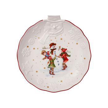 Toy's Fantasy miska z reliefem bałwanek, biała/kolorowa, 26 x 24,5 x 4,4 cm