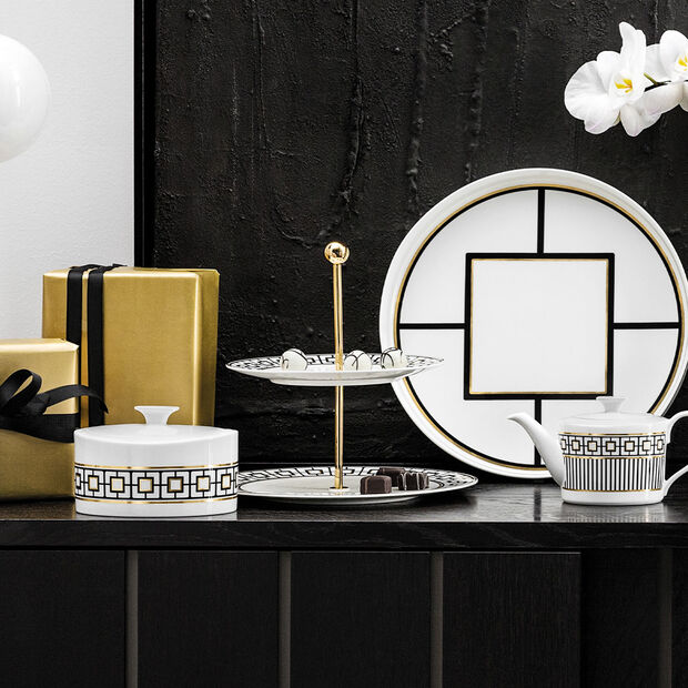 MetroChic etażerka, 27,5 x 27,5 x 27 cm, biało-czarno-złota, , large