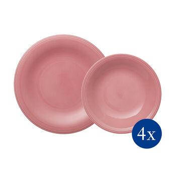 Color Loop Rose zestaw naczyń stołowych, różowy, 8-częściowy