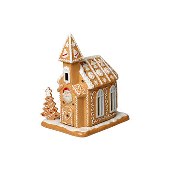 Winter Bakery Decoration kościół z piernika, brązowy/biały, 17 x 13 x 20 cm